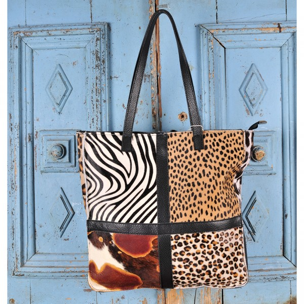 animal print leather suitcase