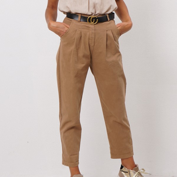 twill pants with pleats