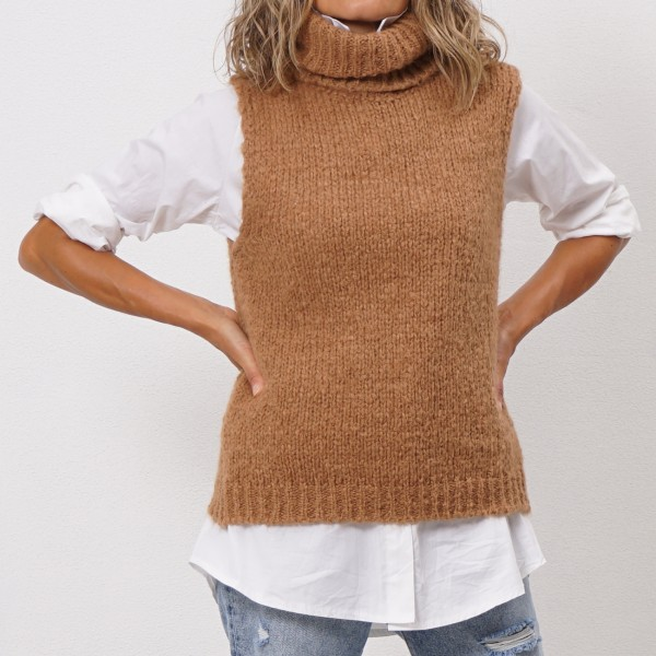 high collar knit vest
