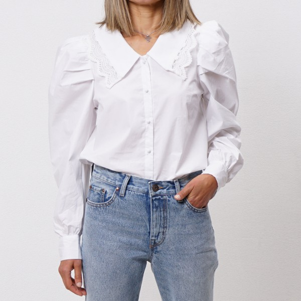 poplin blouse with embroidery