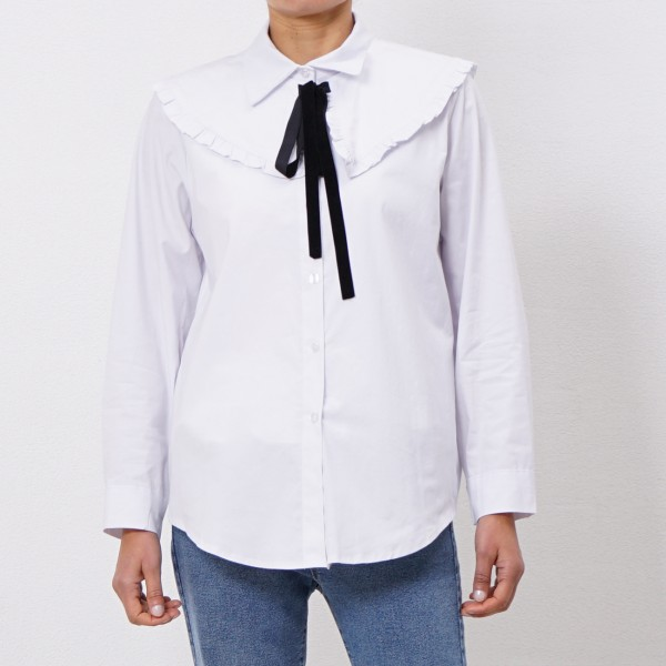 blouse in poplin with reversible collar
