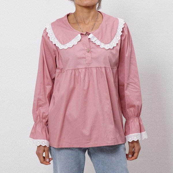 poplin blouse with frills