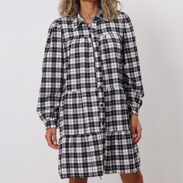 flannel dress with ruffles